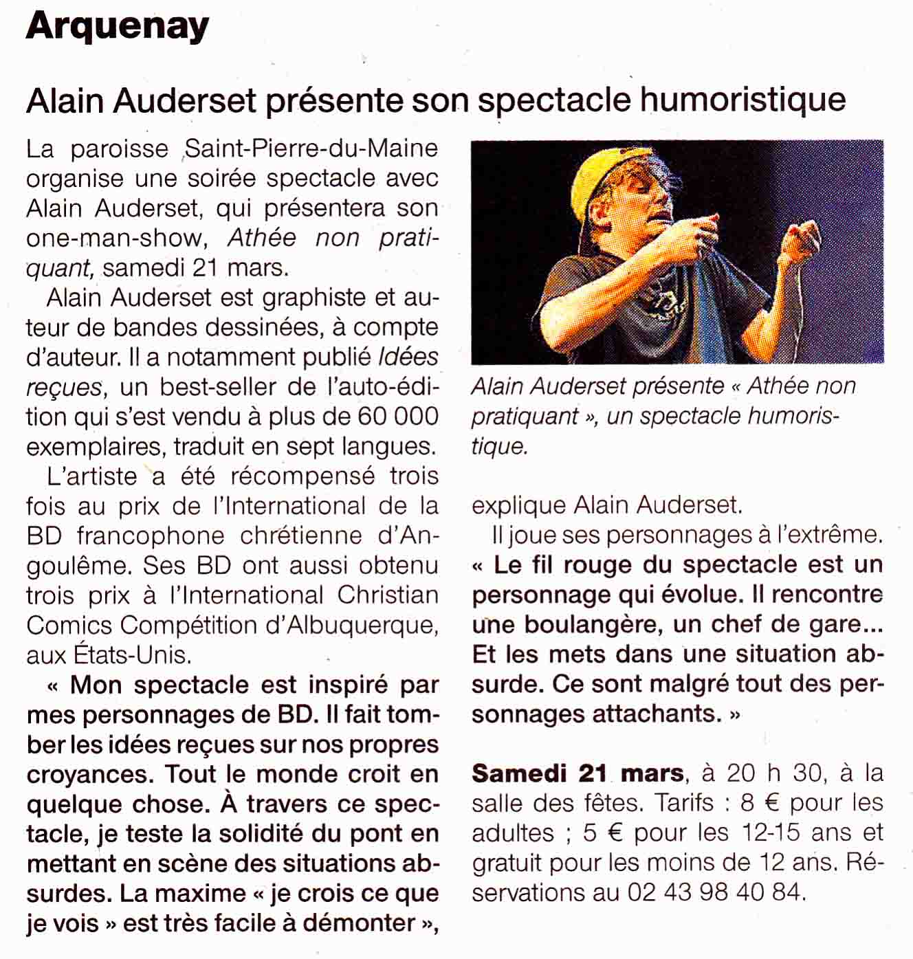 Article Ouest France 17 mars 2015