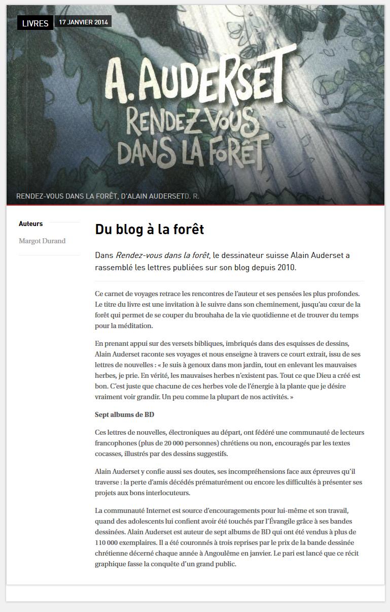 blog réforme alain auderset et son livre rendez-vous dans la fôret